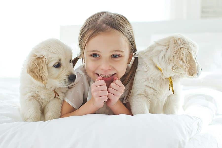 meisje met 2 honden op bed